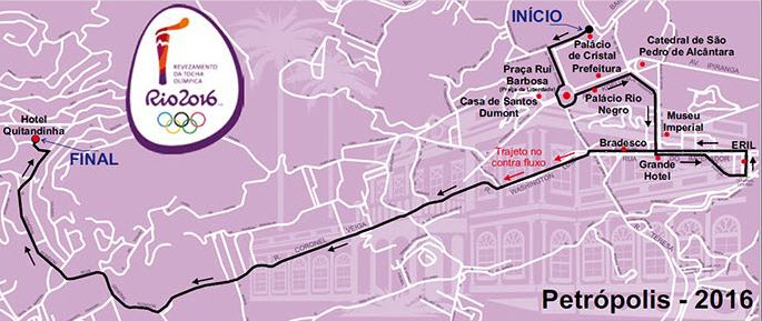 Percurso da Tocha Olímpica em Petrópolis